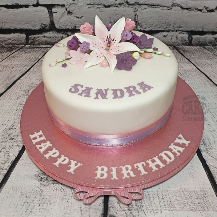 Pinks and purples floral cake - Tamworth