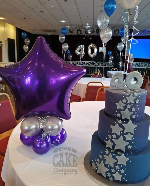 Three-tier star cascade birthday cake - Tamworth