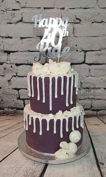 Two-tier purple and white drip cake - Tamworth