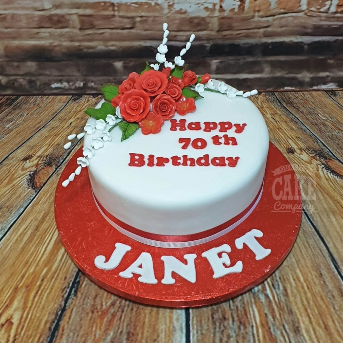 Red rose floral birthday cake - Tamworth