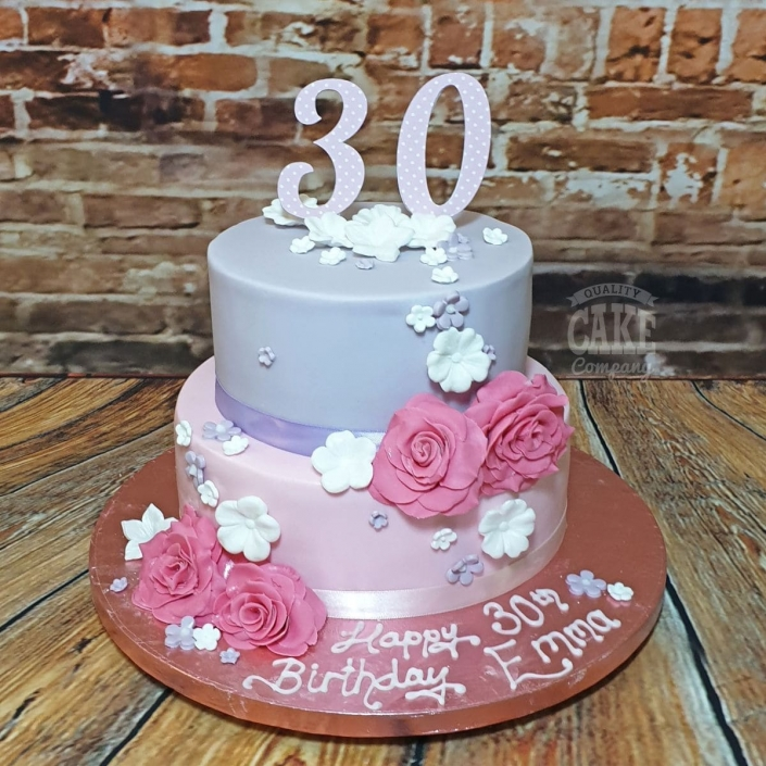 Small two-tier pink and purple floral cake - Tamworth