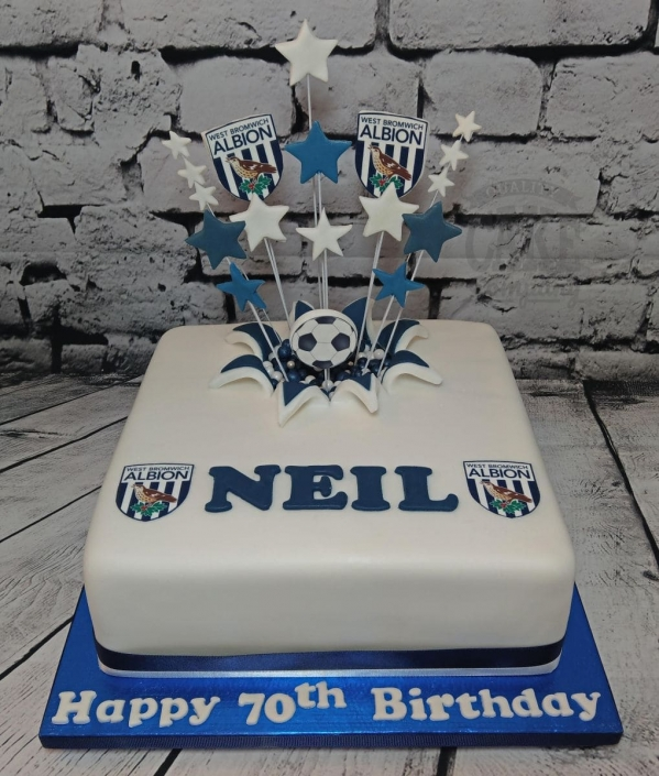 WBA theme starburst cake for a 70th birthday