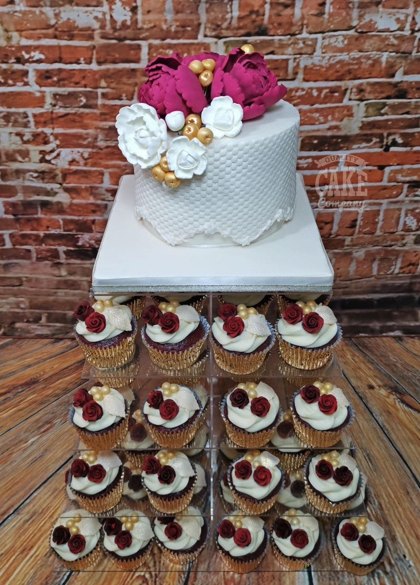modern quilted wedding cake and cupcake tower display red roses - tamworth