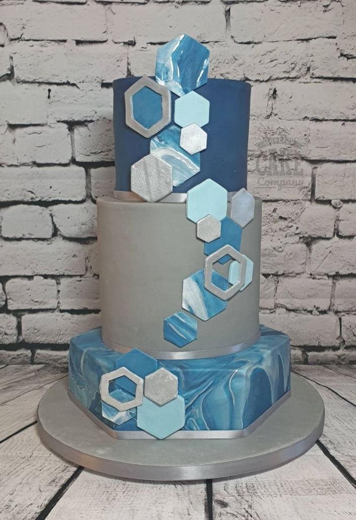 colourful blue geometric wedding cake - tamworth west midlands