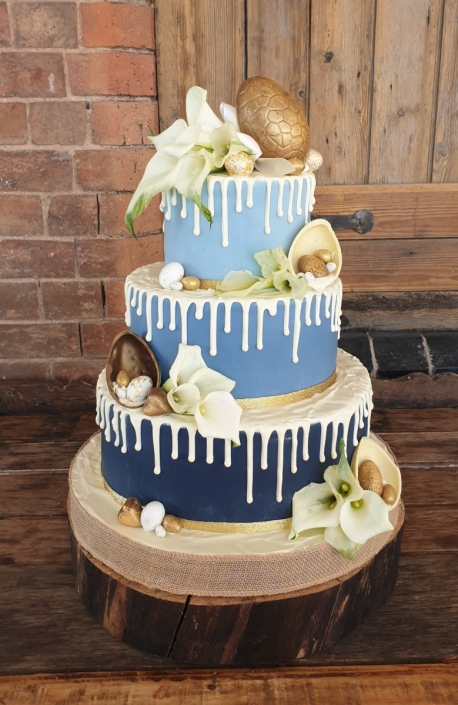 Blue ombre easter egg colourful wedding cake