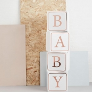 rose gold baby shower blocks table decoration - Tamworth