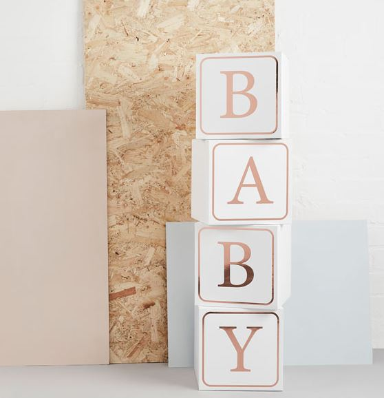rose gold baby shower blocks