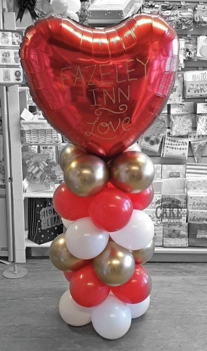 Giant red heart balloon column display for valentine's day - Tamworth