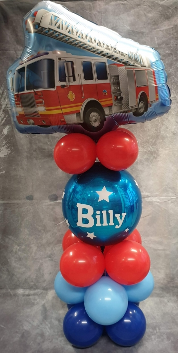 Children's balloons - Fire engine air-filled balloon column stack - Tamworth