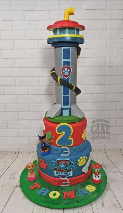 Two-tier Paw Patrol Tower and toys themed children's birthday cake - Tamworth