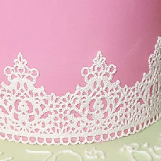 Pink cake with texture white cake lace