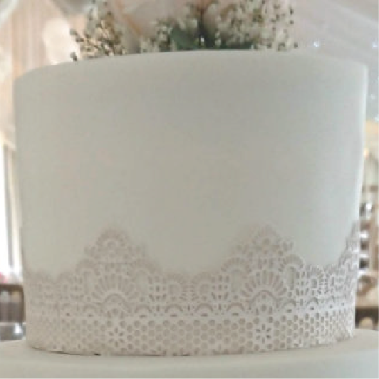 Wedding cake with texture white cake lace