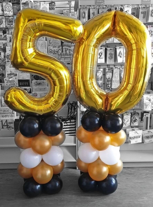 50th birthday air-filled balloon column displays - Tamworth