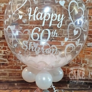 Personalised bubble balloon with feathers - Tamworth