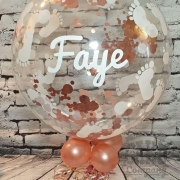Personalised baby shower bubble balloon with footprints and rose gold confetti - Tamworth