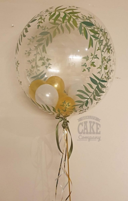 bubble balloon leaves with gold balloons inside