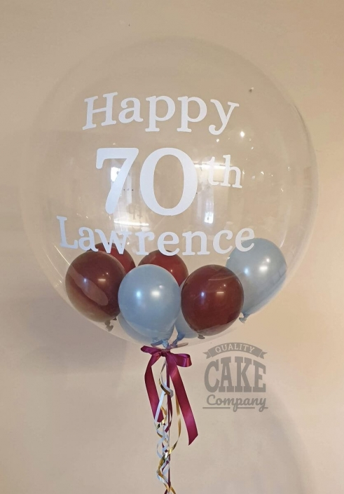 Personalised bubble balloon mini balloons inside aston villa theme - Tamworth