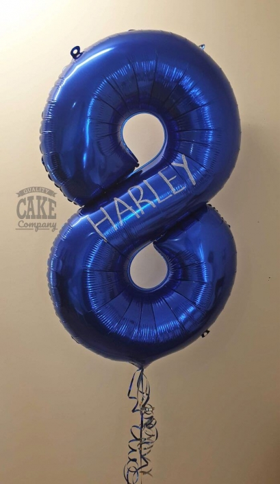 Large number balloon personalised with glitter - tamworth