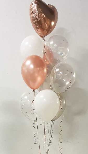 Large mixed balloon display bunch rose gold colours - Tamworth