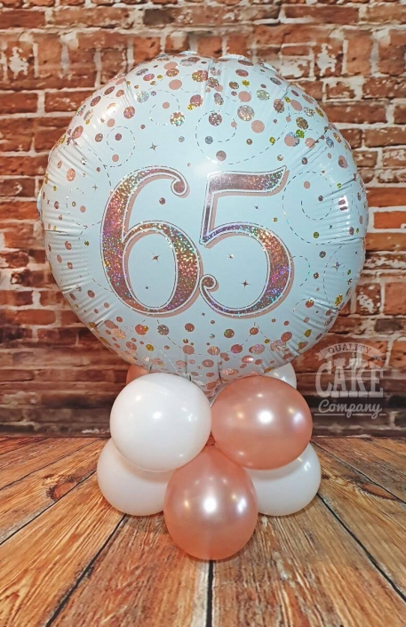 Rose gold table balloon display - 65th birthday - Tamworth