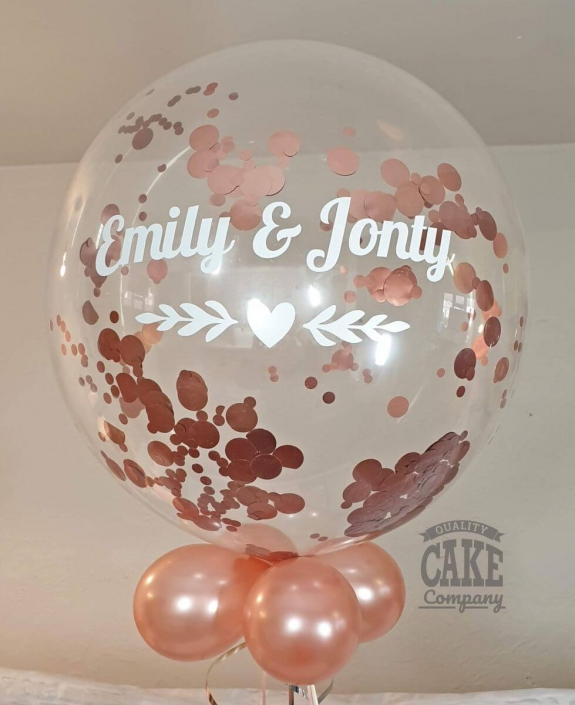 Rose Gold confetti personalised bubble clear balloon - Tamworth