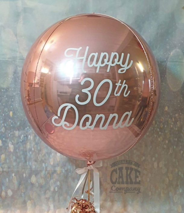 Rose gold personalised Orb balloon - Tamworth