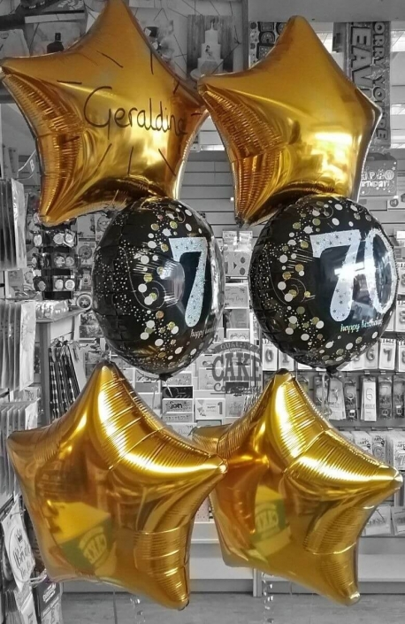 60th birthday black and gold foil balloon bunches - Tamworth