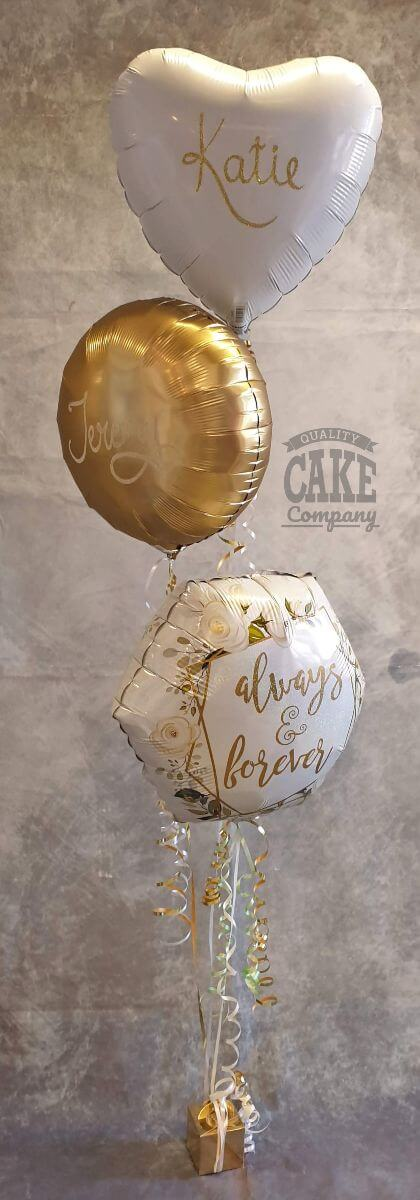 Spray of three foil balloons wedding