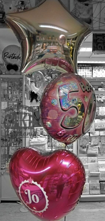 Bunch of 3 foil balloons personalised - pink 50th birthday - Tamworth