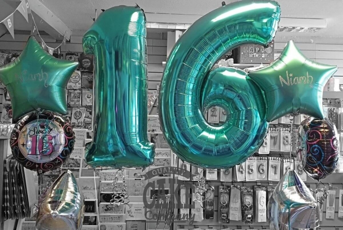 Teal 16th birthday number balloons - everyday deal - Tamworth