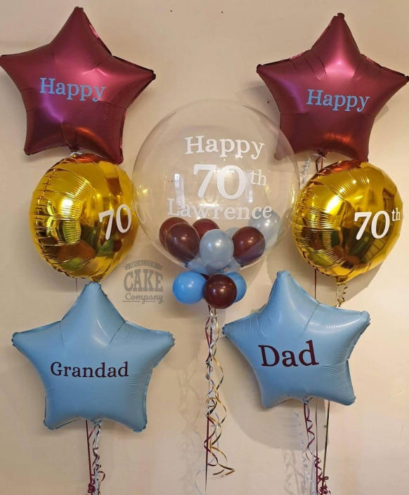Aston Villa theme balloons including bubble balloon and personalised foil balloons