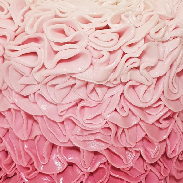 Ombre cake pink ruffles texture