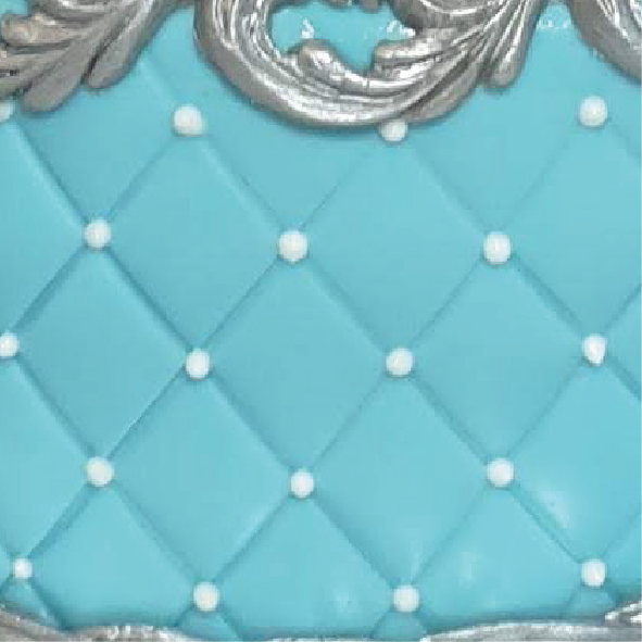 Blue and white pearl texture cake quilted