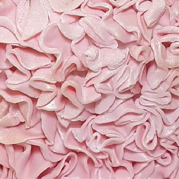 Pearl pink cake ruffles texture example