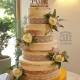 four-tier semi naked rustic wedding cake with hessian and lace and fresh rose - tamworth west midlands