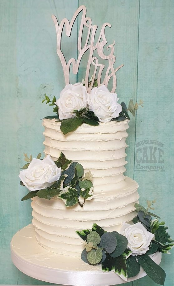 Two tier ribbed buttercream rustic wedding cake with white roses - tamworth west midlands