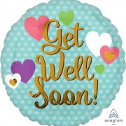 Get well soon balloon hearts