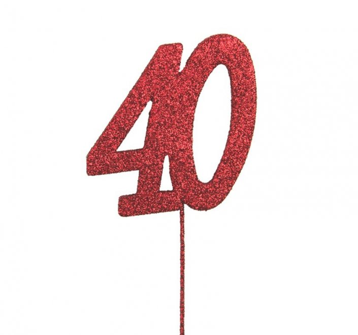 40th anniversary cake decoration topper red 40