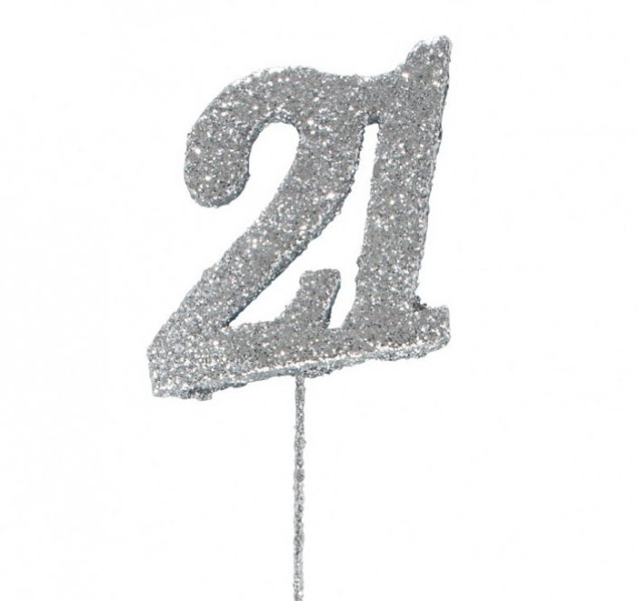 21st birthday cake decoration silver 21