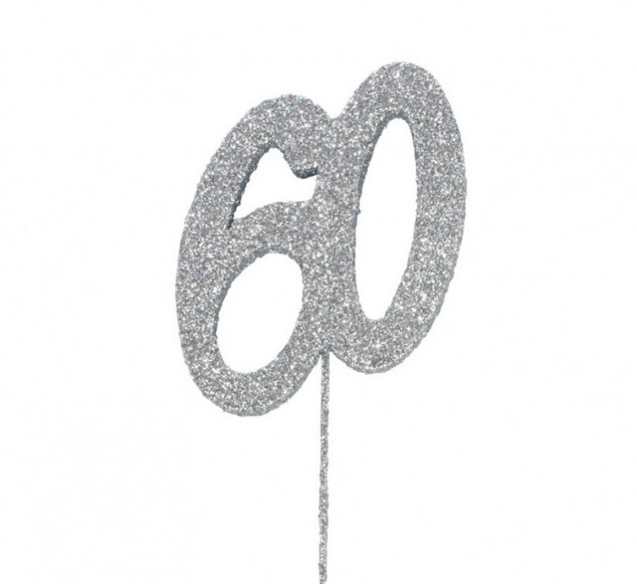 60th birthday or anniversary cake decoration silver 60