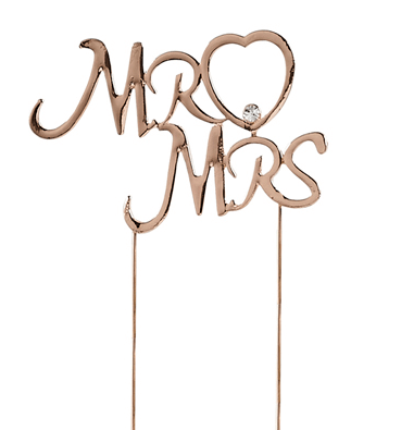 Rose gold Mr & Mrs wedding cake topper decoration