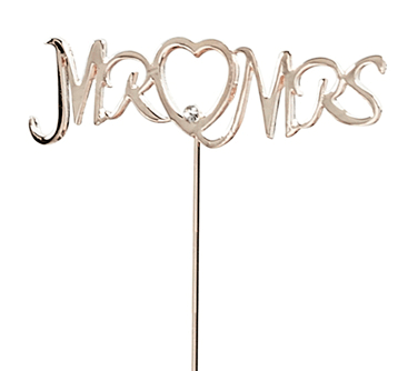 Rose gold Mr & Mrs small wedding cake topper decoration