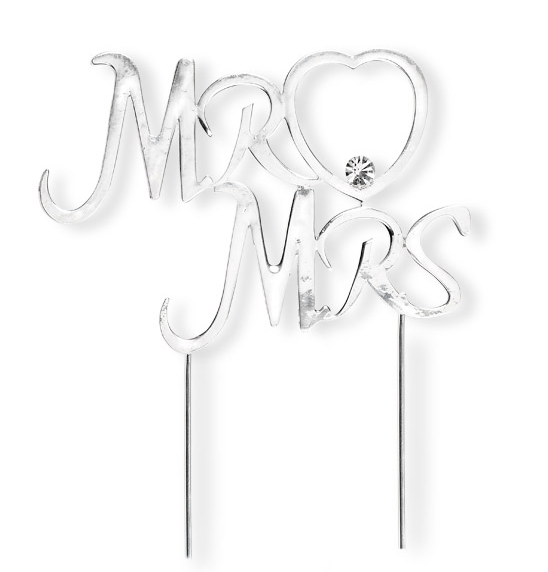 Silver Mr & Mrs wedding cake decoration topper