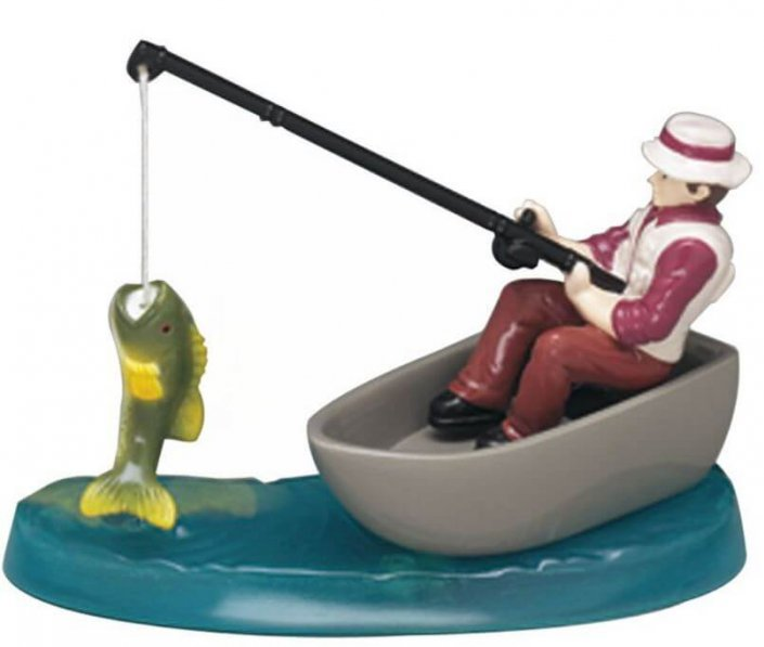 Fisherman in boat cake topper