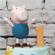 Fondant sugar branded figure standing George Pig custom cake decoration