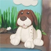 Fondant sugar dog sitting custom cake topper