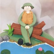 Fondant sugar human sitting fishing - custom sugar cake decoration