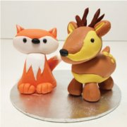 Fondant sugar mini fox and deer cake decorations
