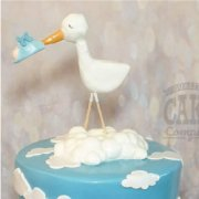 Fondant sugar stork cake decoration