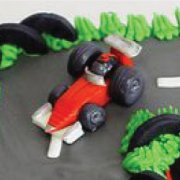 Fondant sugar tiny F1 car custom cake topper